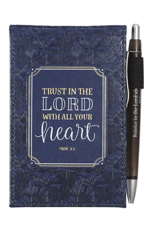 Trust In The Lord Blue Floral LuxLeather Notepad with Pen