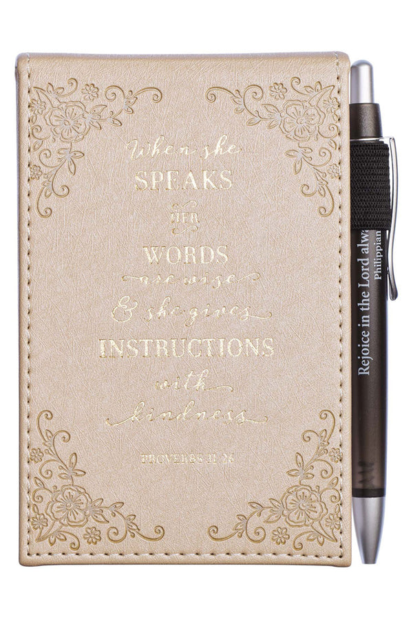 When She Speaks LuxLeather Notepad with Pen