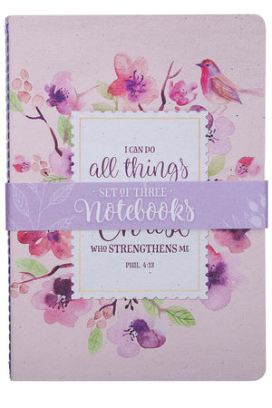 Set of 3 Inspirational Watercolor Floral Notebooks