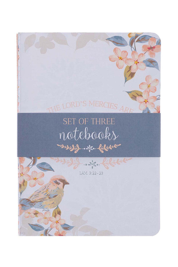 Set of 3 'The Lord's Mercies' Floral Bird Notebooks