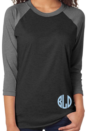 Tri-Blend Unisex 3/4 Raglan, Premium Heather/Vintage Black #NL6051 *Personalize It!