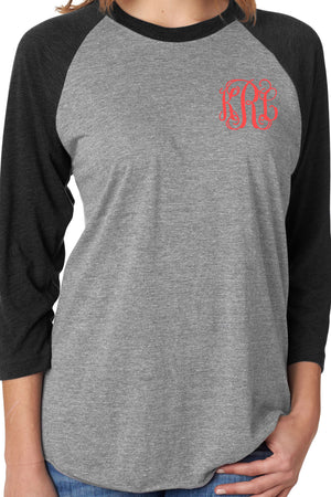 Tri-Blend Unisex 3/4 Raglan, Vintage Black/Premium Heather #NL6051 *Personalize It!