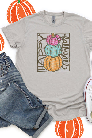 Bright Stacked Pumpkins Happy Fall Y'all Poly/Cotton Tee