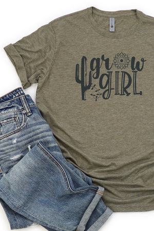 Grow Girl Cactus Poly/Cotton Tee