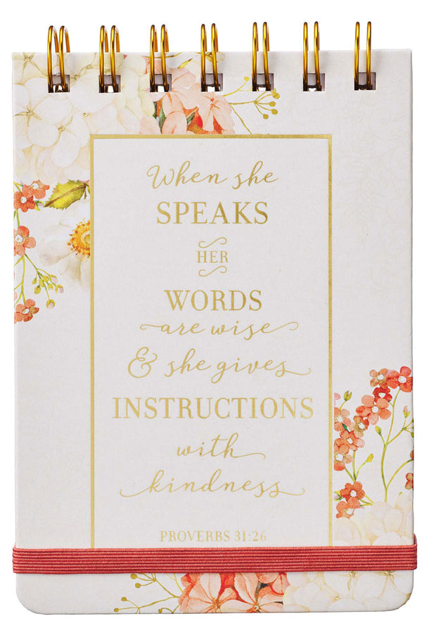 Proverbs 31:26 'When She Speaks' Wirebound Notepad