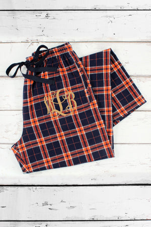 Orange and Navy Plaid Flannel Pajama Pant #F20ON-2 *Personalize It