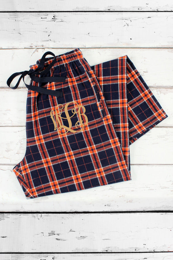 Orange and Navy Plaid Flannel Pajama Pant  F20ON-2  Personalize It 77aaa9516