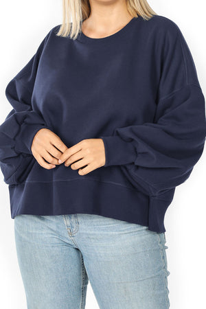 Plus Size Navy Balloon Sleeve Sweatshirt
