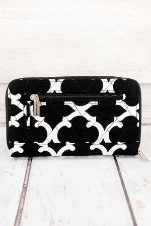 *Black Moroccan Geometric Quilted Organizer Clutch Wallet