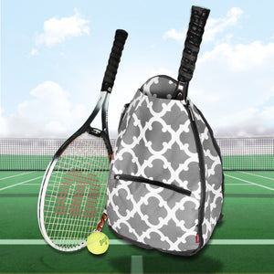 Gray Moroccan Geometric Tennis Backpack #OTG734-GRAY