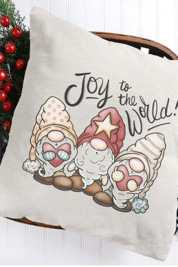 Joy To The World Christmas Gnomes Decorative Pillow Cover