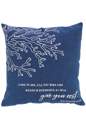 17 x 17 'I Will Give You Rest' Navy Square Throw Pillow