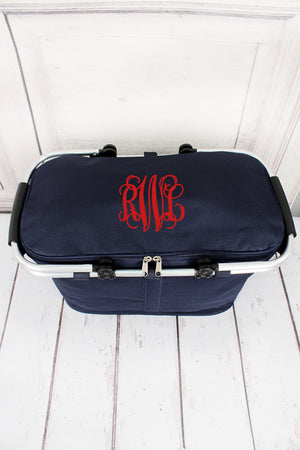 Navy Collapsible Insulated Market Basket with Lid