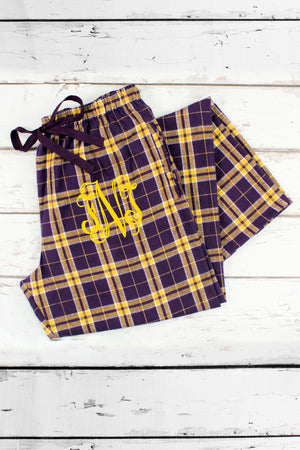 Purple and Gold Plaid Flannel Pajama Pant #F20PG-2 *Personalize It