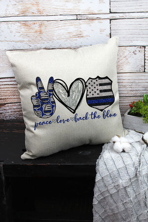 Peace Love Back The Blue Decorative Pillow Cover