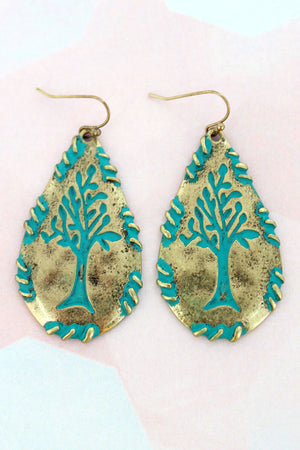 Burnished Goldtone with Patina Tree Teardrop Earrings