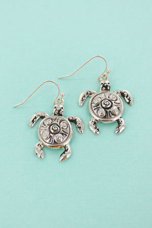 Silvertone Sea Turtle Earrings
