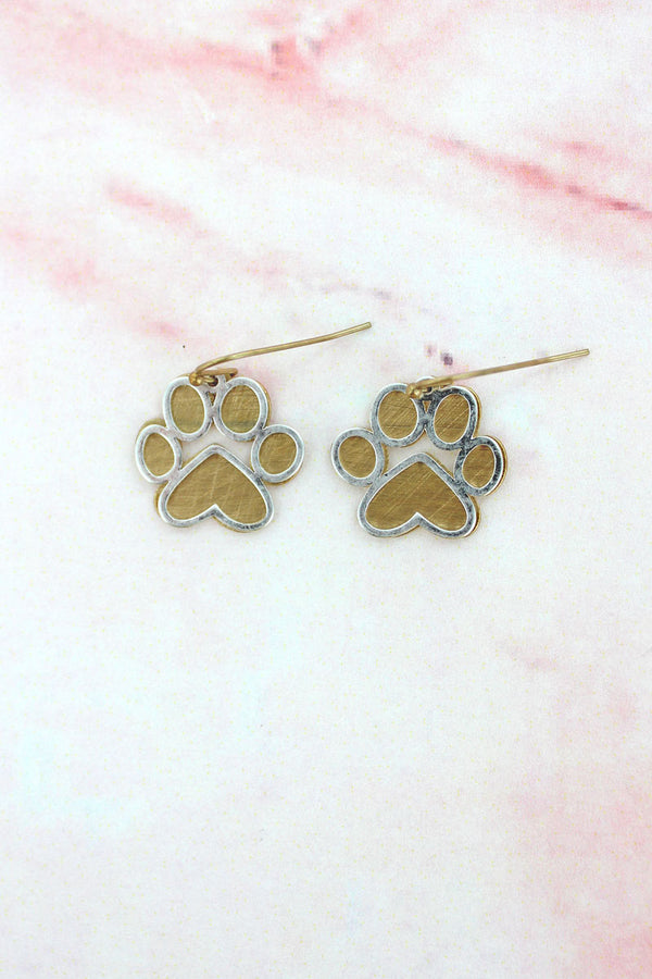Worn Goldtone and Silvertone Scratched Layered Paw Print Earrings