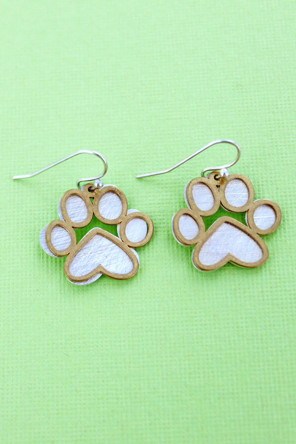 Worn Silvertone and Goldtone Scratched Layered Paw Print Earrings
