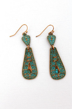 Taos Teardrop Patina Coppertone Earrings