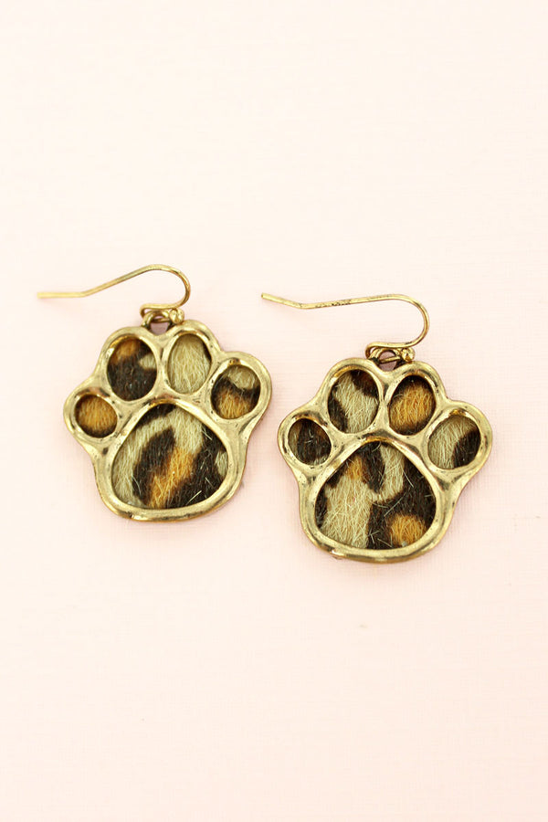 Goldtone and Leopard Paw Print Earrings