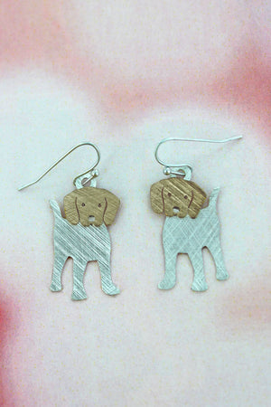 Worn Silvertone and Goldtone Scratched Dog Earrings