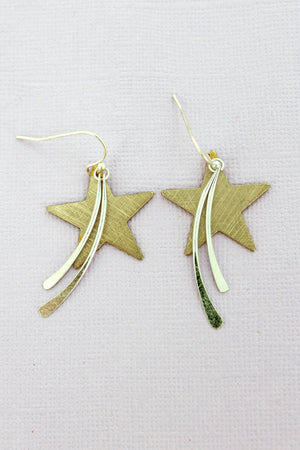 Worn Goldtone Scratched Star and Bar Earrings