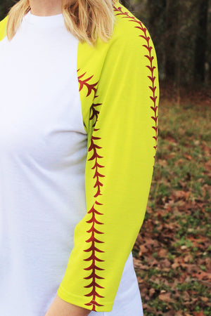 Softball Laces 3/4 Sleeve Raglan Tee, White *Personalize It