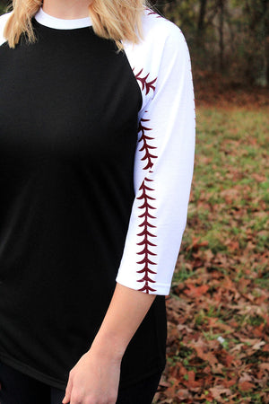 Baseball Laces 3/4 Sleeve Raglan Tee, Black *Personalize It