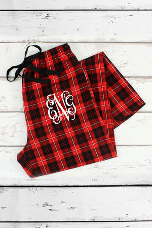 Red and Black Plaid Flannel Pajama Pant #F20RB *Personalize It