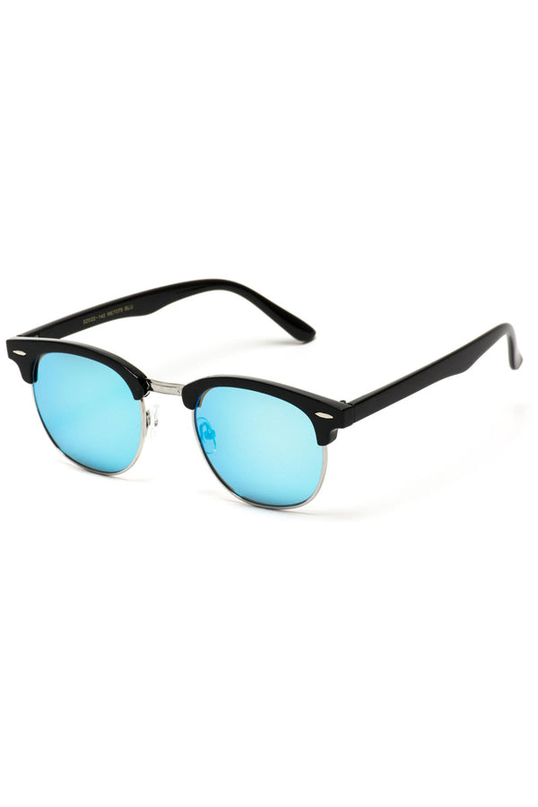 Blue Mirrored Lens Half Horn Rimmed Sunglasses