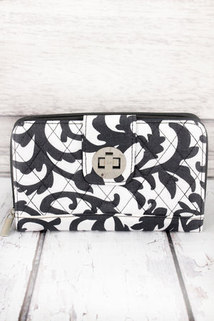 *Gray Ivy Damask Quilted Organizer Clutch Wallet