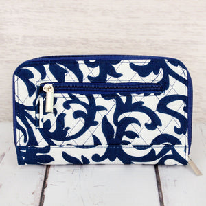 Royal Blue Ivy Damask Quilted Organizer Clutch Wallet