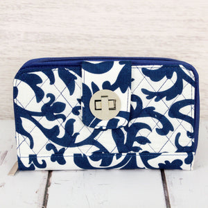 Royal Blue Ivy Damask Quilted Organizer Clutch Wallet #RMKR517-ROYAL