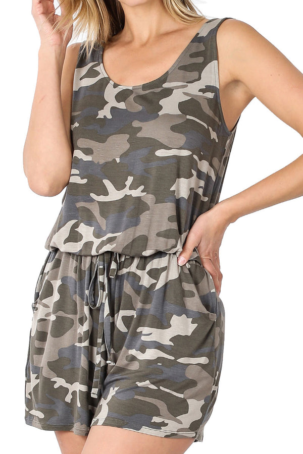 Dusty Camouflage Sleeveless Romper with Pockets
