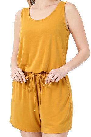 Golden Mustard Sleeveless Romper with Pockets