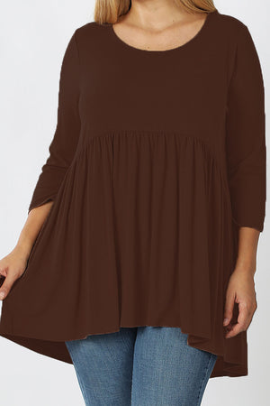 Plus Size Brown 3/4 Sleeve Gathered Empire Waist Top