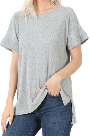 Heather Gray Ribbed Hi-Low Short Sleeve Top