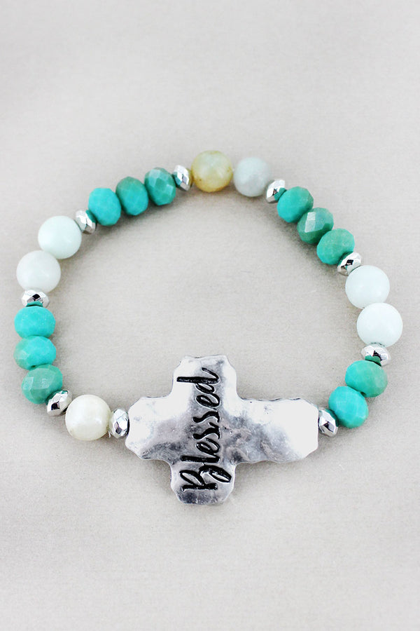 Silvertone 'Blessed' Turquoise Beaded Stretch Bracelet