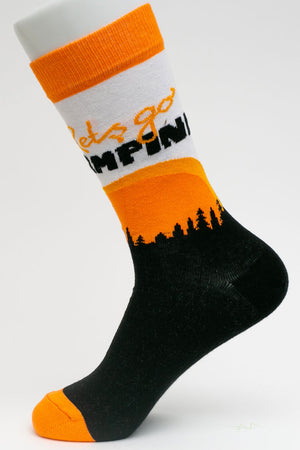 One Pair Small Let's Go Camping Socks