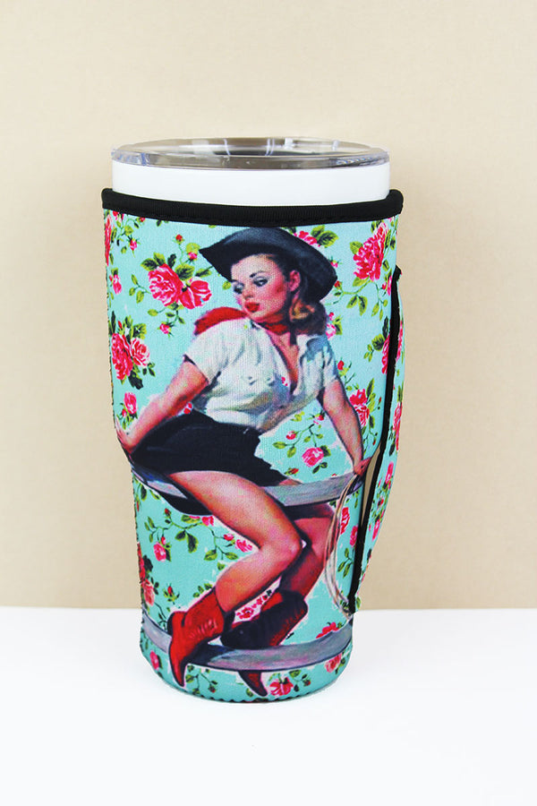 Cowgirl Pinup Bouquet Tumbler Drink Sleeve