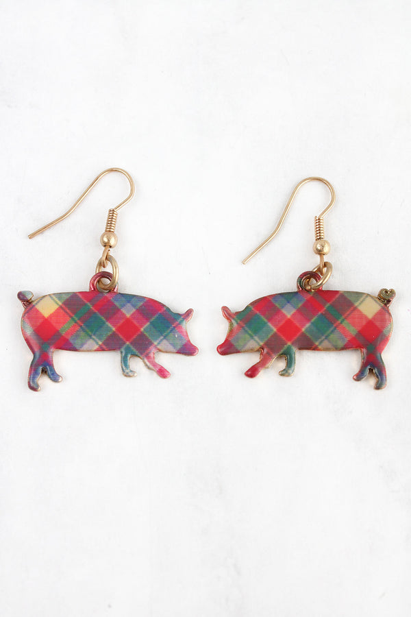 Perfectly Plaid Pig Goldtone Earrings