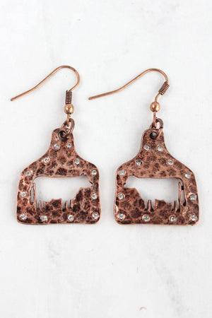 Crystal Coppertone Cut-Out Cow Ear Tag Earrings