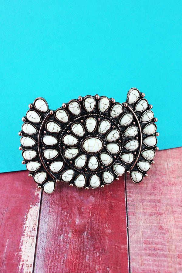 White Beaded Coppertone Western Hair Barrette