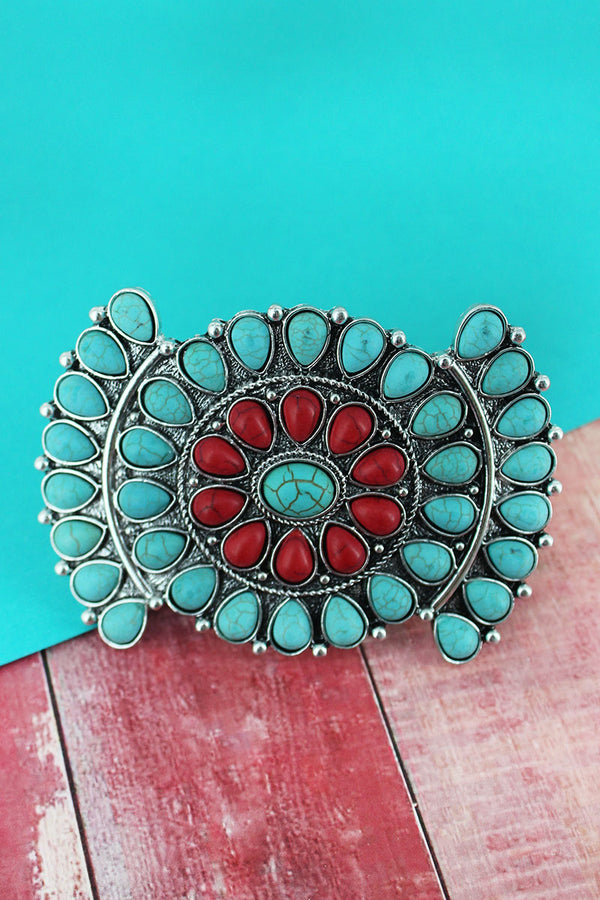 Turquoise and Coral Beaded Silvertone Western Hair Barrette