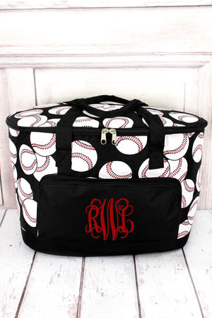 Baseball and Black Cooler Tote with Lid #SKQ89-BLACK