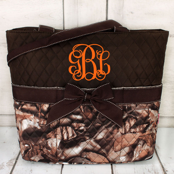 BNB Natural Camo Quilted Diaper Bag with Brown Trim #SNQ2121-BROWN