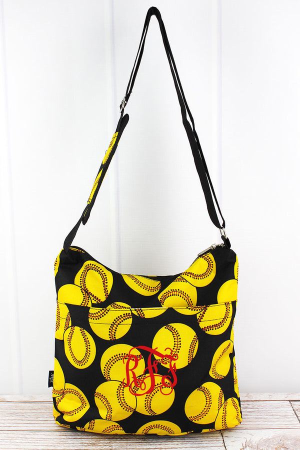 Softball Multi-Pocket Crossbody Tote