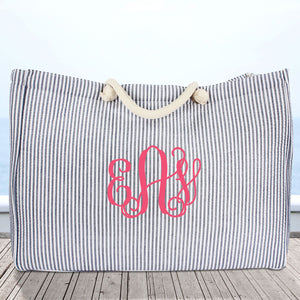 Large Navy Striped Seersucker Shoulder Tote #SR634-NAVY