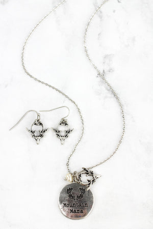 Burnished Silvertone 'Mountain Mama' Necklace and Earring Set